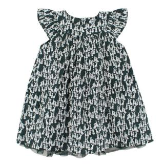 Bout'chou Girls 12M Cotton Green Dress with Rabbit Print