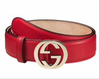 Gucci Red Leather GG Belt
