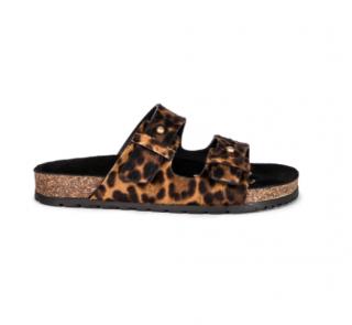 Saint Laurent Jimmy Leopard Slides