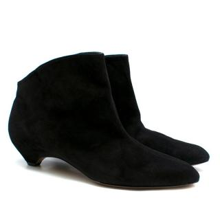 Alaia Black Suede Curved Heel Ankle Boots