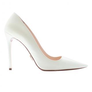 Prada White Leather Stiletto Pumps