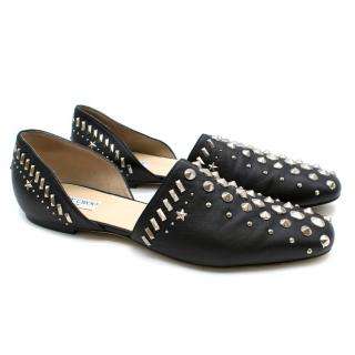 Jimmy Choo D'orsay Studded Black Leather Flats