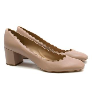 Chloe Nude Leather Lauren Scalloped Pumps
