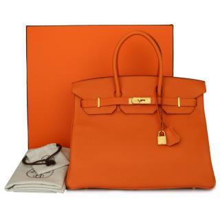 Hermes Togo Leather Orange 35cm Birkin