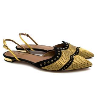 Aquazzura Black and Gold Embellished Sling Flats