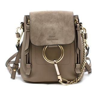 Chloe Motty Grey Smooth & Suede Calfskin Small Faye Backpack