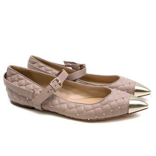 Valentino Poudre Quilted Calfskin Rockstud Ballerina Flats