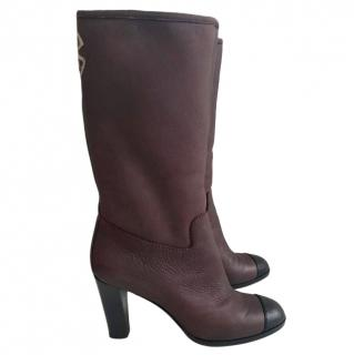 Chanel burgundy leather tall boots