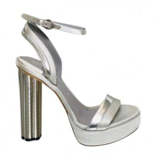 Salvatore Ferragamo Silver Platform Flower Heel Sandals