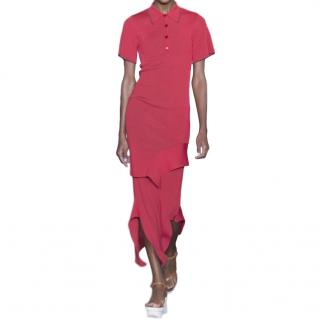 Stella McCartney Red Asymmetric Ribbed Polo Dress