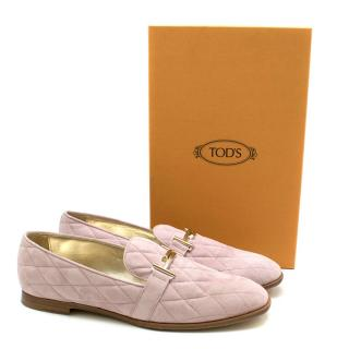 Tod's Lavender Quilted Suede Loafers
