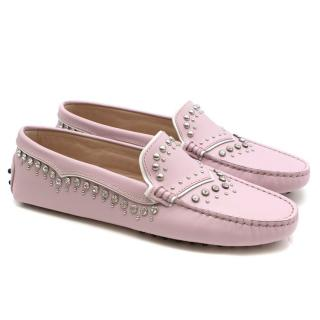 Tod's Lavender Leather Studded Gommino Loafers