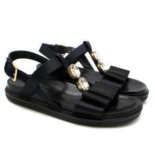 Marni Black Fussbett Crystal Embellished Sandals