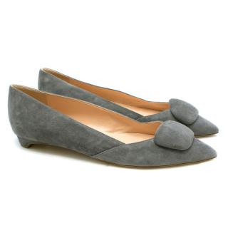 Rupert Sanderson Aga Pebble Point-toe Grey Suede Flats
