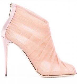 Dolce & Gabbana nude tulle booties
