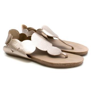 Pedro Garcia Jamee Pink Metal Leather Fussbett Sandals