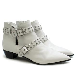 Marc by Marc Jacobs Carroll White Leather Studded Ankle Boots