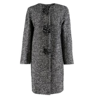 Ermanno Scervino Black & White Tweed Wool Blend Coat
