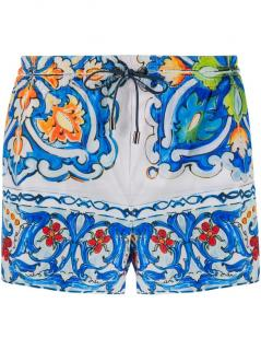 Dolce & Gabbana Men's Blue Sicily Print Swimming Shorts