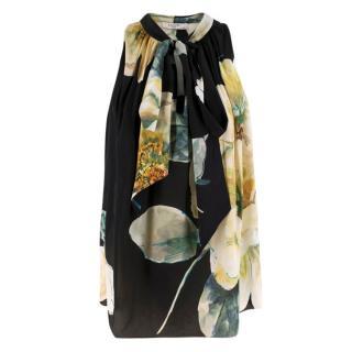 Lanvin Black Silk Floral Sleeveless Top