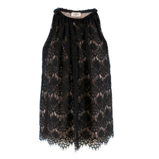 Lanvin Black Silk Lace Embellished Sleeveless Top