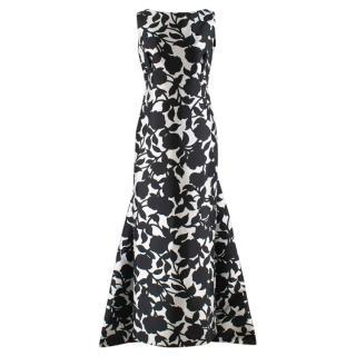 Carolina Herrera Boutique White & Black Floral Gown
