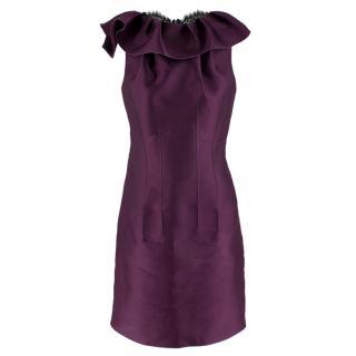 Lanvin Purple Ruffled Silk Blend Duchesse & Lace Dress