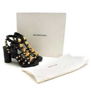 Balenciaga Black Leather Studded Heeled Sandals