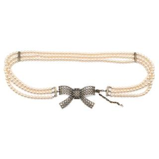 Valentino Faux Pearl Mesh Bow Buckle Belt
