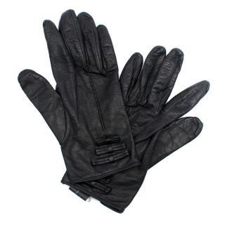 Prada Women's Black Bow Embellished Leather Gloves