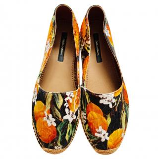 Dolce & Gabbana Orange Blossom Printed Espadrilles
