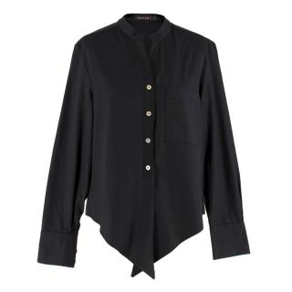 Mixed Black Button-up Asymmetric Blouse