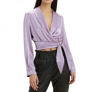 Nanushka Lavander Wrap Crop Top