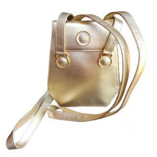 Gianni Versace Metallic Gold Vintage Shoulder Bag