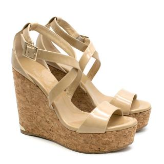 Jimmy Choo Portia Nude Leather Cork Wedge Sandals
