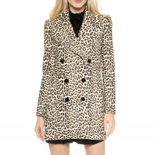 Carven Leopard Print Wool Coat