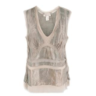 Marc Jacobs Tonal Silvery Floral Print Top
