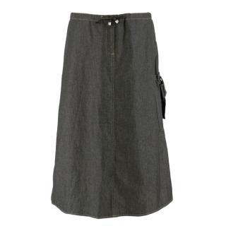 Fendi Jeans Black Denim Midi Skirt