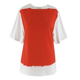 Balenciaga White & Red Painted T-shirt
