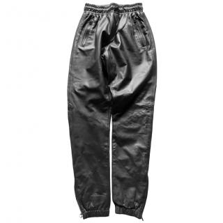 EN/NOIR Black Leather Track Pants
