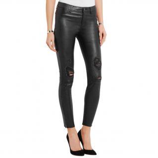 J Brand Black Leather Distressed Pants