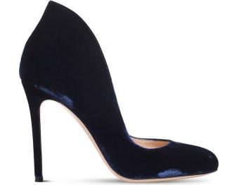 Gianvito Rossi Blue Lyra 105 Velvet Courts