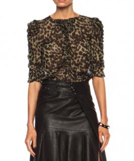 Isabel Marant Leopard Print Ruffled Top