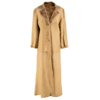 Strenesse Camel Lamb Leather & Shearling Coat