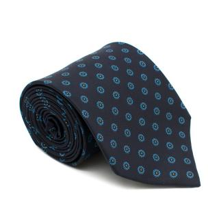 E.G. Cappelli Navy Blue Printed Tie
