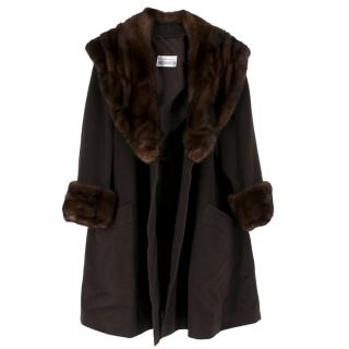 Meerstein Brown Cashmere Coat with Mink Collar