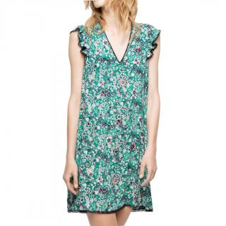 Zadig & Voltaire Green Floral Print Ruffled Sleeve Mini Dress