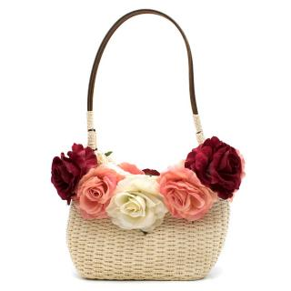 Alain Parus Cream Woven Rose Embellished Bag