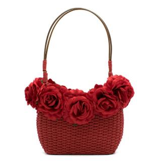 Alain Parus Red Woven Flower Embellished Bag