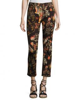 Etro Tiger & Floral-Print Cropped Boyfriend Jeans